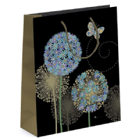 Blue Alliums Gift Bags, Gold Foil Art 15 x 14 x 11cm SMALL Pack  of 3